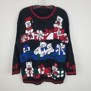 Vintage Knitted Christmas Crewneck Sweater Medium